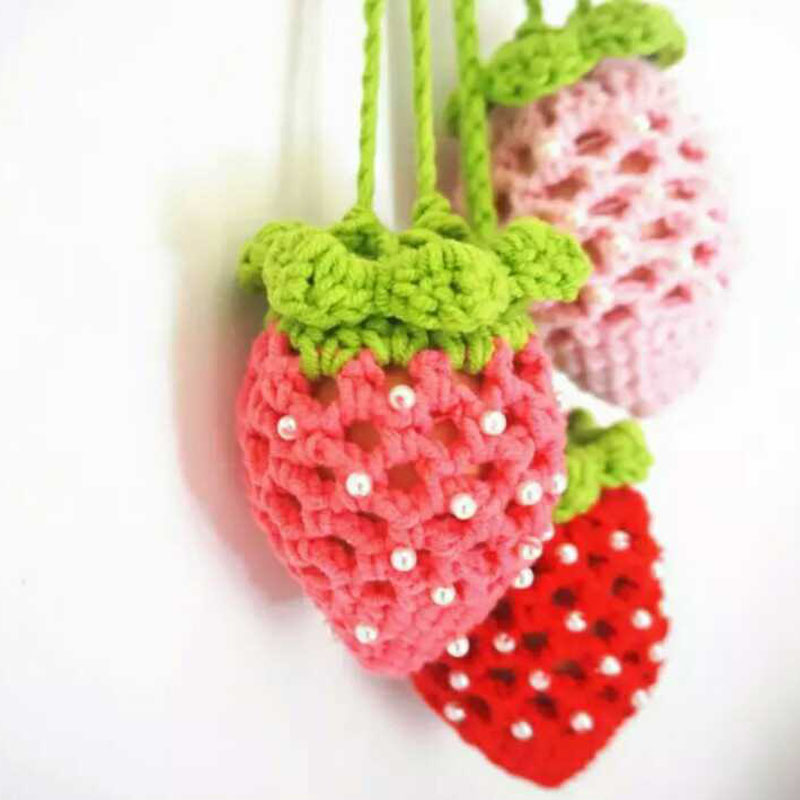 Bright 1 Pcs Egg Bag Strawberry Pouch Yarn Hand Knitting Egg Pocket Childrens Day Gifts Finished Product Hand-made Finished Pearl Zl3 Electronic Components & Supplies