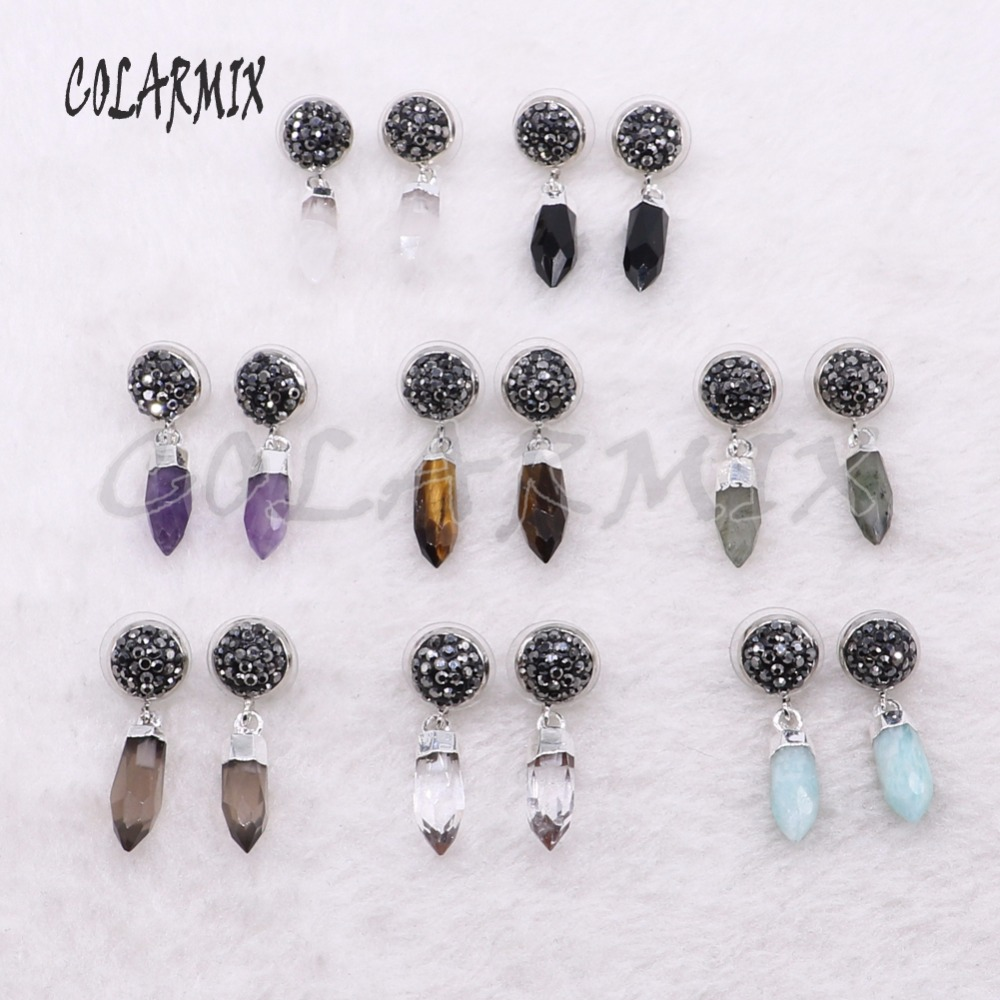 Wholesale High quality tiny natural Bullet stone earrings simple style  Fashion stone druzy earrings Natural stone earrings 3915