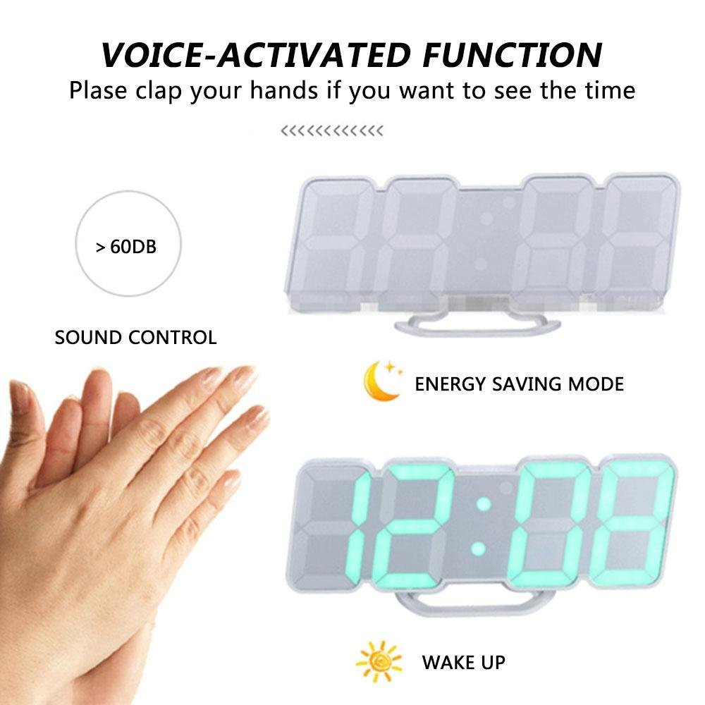 Creative Remote Control 3d Led Digital Wall Clock Voice Control