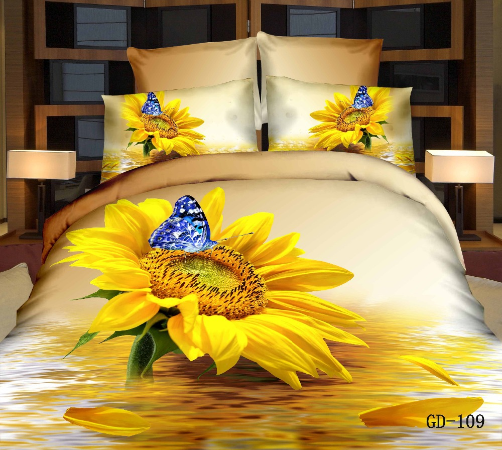 Crib size quilts for sale - New 7 Pcs 3d Sunflower Bedding Sets Queen Super King Size Blue Butterfly Print Duvet Cover