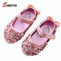 Children Leather Shoes Spring 2017 New Fashion Bow Sequins Toddler Girl Shoes Solid Dancing Girls Shoes Insole 13.5-18cm 9622W