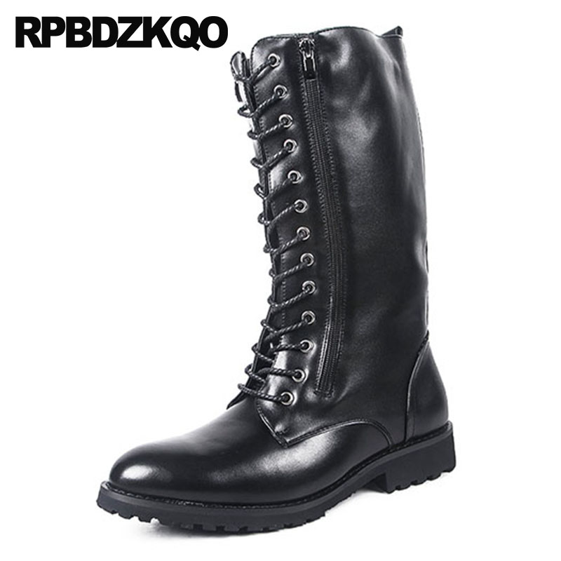 Fall Autumn Shoes Fashion Zipper 2018 Designer Mens Leather Tall Boots Combat Footwear Mid Calf Military Black Army Waterproof mens winter boots warm military mid calf durable army 2017 fashion combat motorcycle high top shoes lace up autumn black male