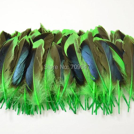 100 шт./лот 8-12 см Кряква утиные перья утка маховое перо переливающийся синий перья из крыльев окрашенная зеленый цвет