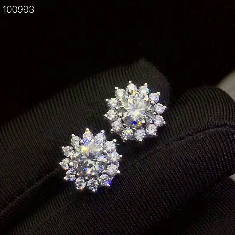 Flower-Earrings Fine-Jewelry Moissanite 925-Sterling-Silver Natural Women Fashion Meibapj title=