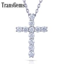 Transgems Cross Shaped S925 Sterling Silver Moissanite 3MM GH Color 1.1 CTW Brilliant Cross Pendant Necklace for Women