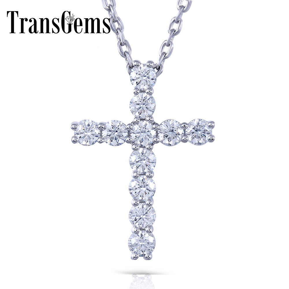 Transgems Cross Shaped Sterling Silver Moissanite 3MM GH Color 1.1 CTW Brilliant Cross Pendant Necklacefor Women transgems platinum plated silver 0 385ctw round brilliant moissanite v shaped pendant necklace for women