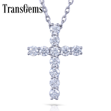 Transgems Cross Shaped Sterling Silver Moissanite 3MM GH Color 1.1 CTW Brilliant Cross Pendant Necklacefor Women недорого