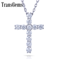 Transgems Cross Shaped Sterling Silver Moissanite 3MM GH Color 1.1 CTW Brilliant Cross Pendant Necklacefor Women