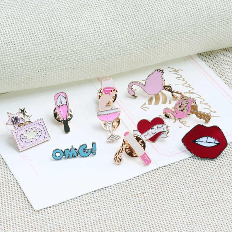 shshd Wine Bottle Cigarette Lips Brooch Women Sexy Pink Enamel Pins Ladies Sweater Jackets Collar Pin Badge for Backpack Jewelry