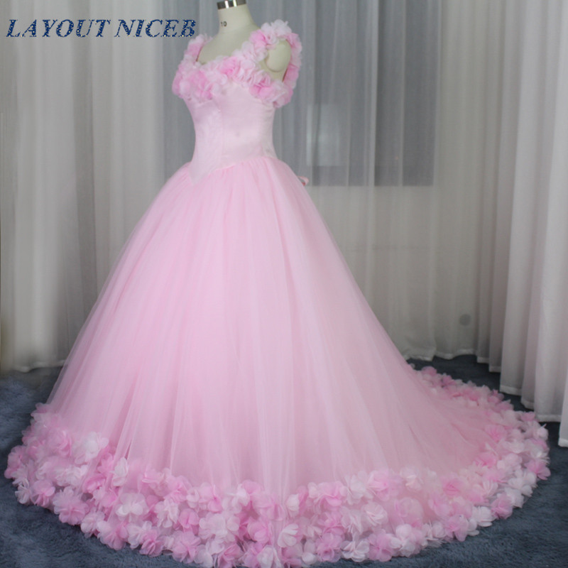 Top Fesyen 2017 Pink Ball Gown Wedding Dress Dengan Bunga Custom Made Off Bahu