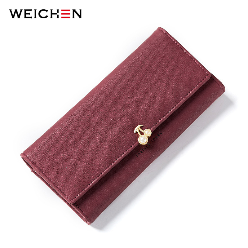 WEICHEN New Designer Pearl Cherry Women Wallet Party Clutch Purse Lady Long Wallets Female Card Holder Purses Carteira Feminina women female bow famous brand designer hello kitty leather long wallets purses carteira feminina couro portefeuille femme 40