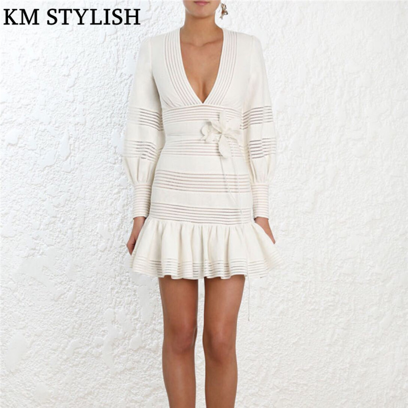 2019 Fall Winter Australia Zim New White Linen Lace Cutout Stripe V-neck Slim Long Sleeve Fishtail Dress