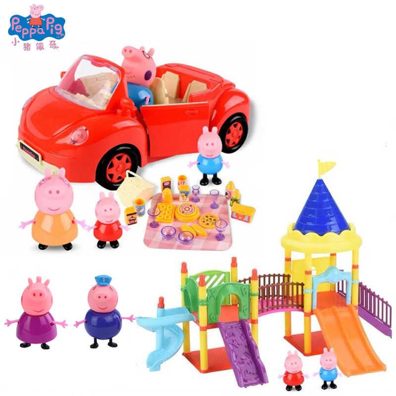 פפה חזיר יוקרה וילה Roadster בורגר חנות פפה חזיר של בית Playset עם פפה דמות צעצועי ילדים מתנה