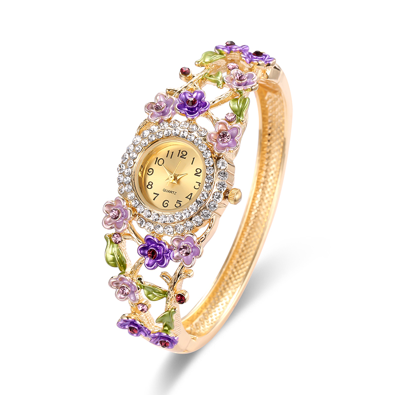 Cindiry Women Watch Flowers Diamond Quartz Wrist Watch Ladies Stainless Steel Bracelet Watch Ladies Watches Female montre femme deepshell full crystal diamond women stainless steel bracelet quartz gold watch female ladies dress wrist watches montre femme
