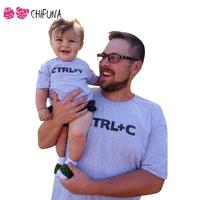 CTRL C CTRL V Pattern Family Look Dad Son T Shirts Fashion Family Apparel 2016 Children
