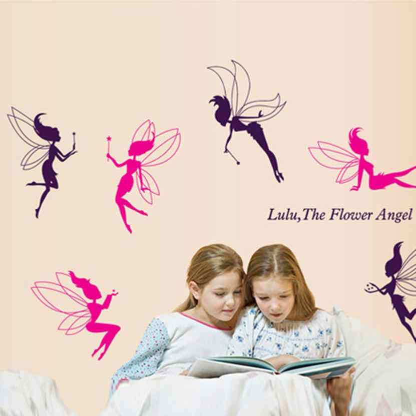 Wall Sticker Fairy Silhouette Angel Wall Sticker Decal Purple Red Home Decal Mural Removable New Vinyl Art Home Decor D36J6