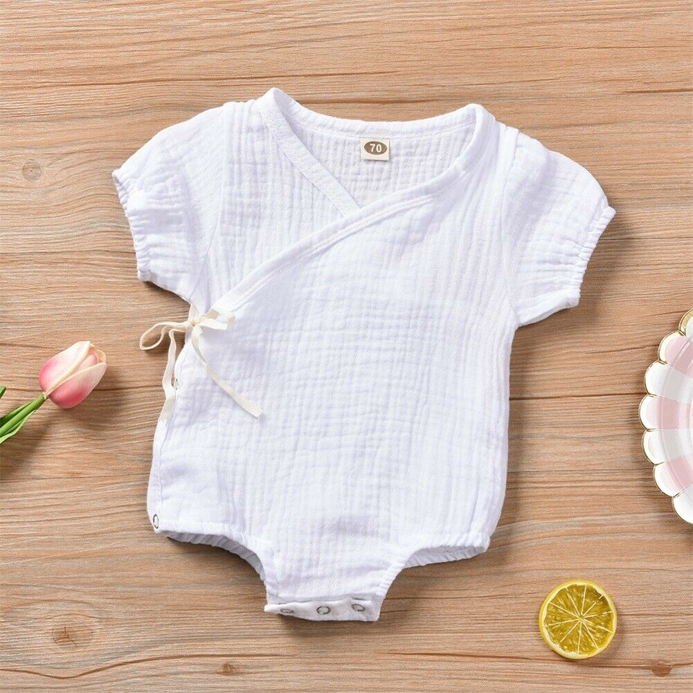 0 3 Months Baby Boys Girls Bodysuit Short Sleeves Solid Color Cotton Linen One Side Tie up Sunsuit Casual Fashion Summer Clothes in Bodysuits from Mother Kids