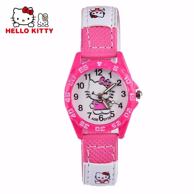 Cute Hello Kitty Watches Girl Lovely Cartoon Watch Kids Children Student Leather