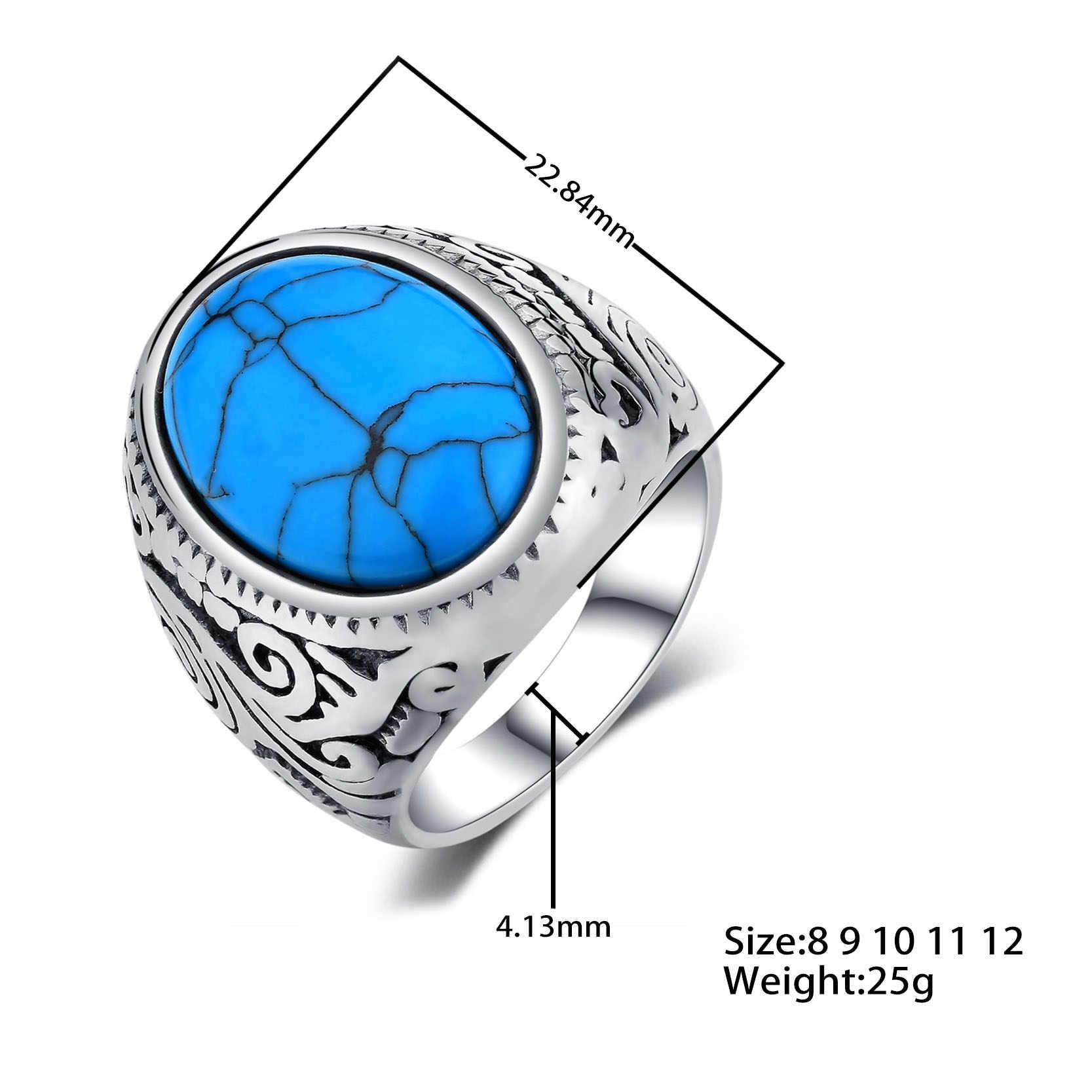 Jiayiqi Vintage แหวนผู้ชายสีฟ้าหินขัดสแตนเลสผู้ชายเครื่องประดับ Silver Charm แหวนสำหรับชายคุณภาพสูง