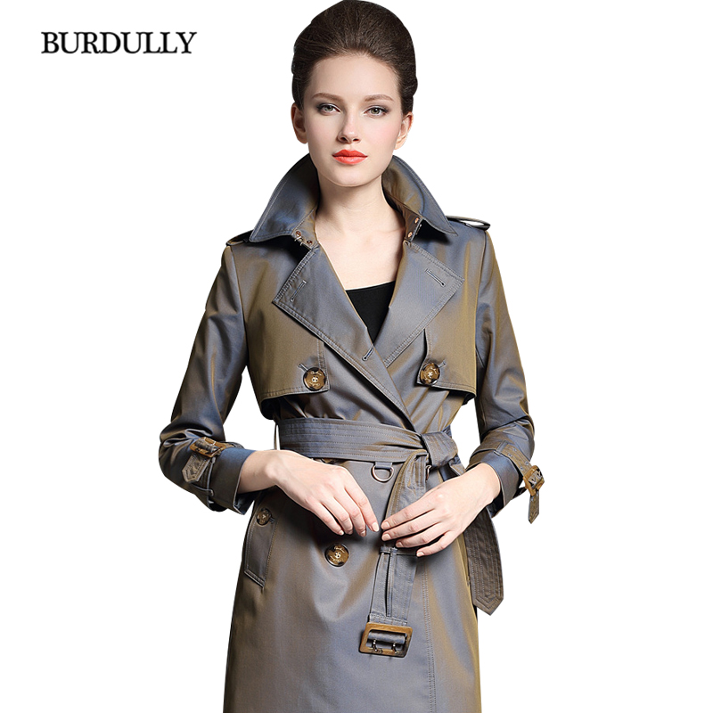 BURDULLY Luxury England Long Double Breasted   Trench   Coat Woman 2018 Autumn Winter Fashion   Trench   Coat High Quality abrigo mujer