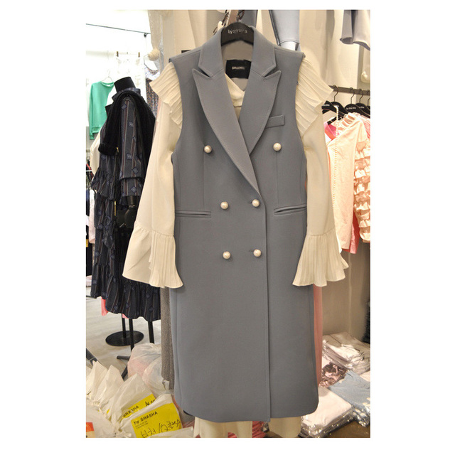 Fake Pearls Buttons Blue-grey Long Blazer Vest Women Plus Size Suit Gilet Femme Pocket Double Breasted Coat Colete Feminina Tops