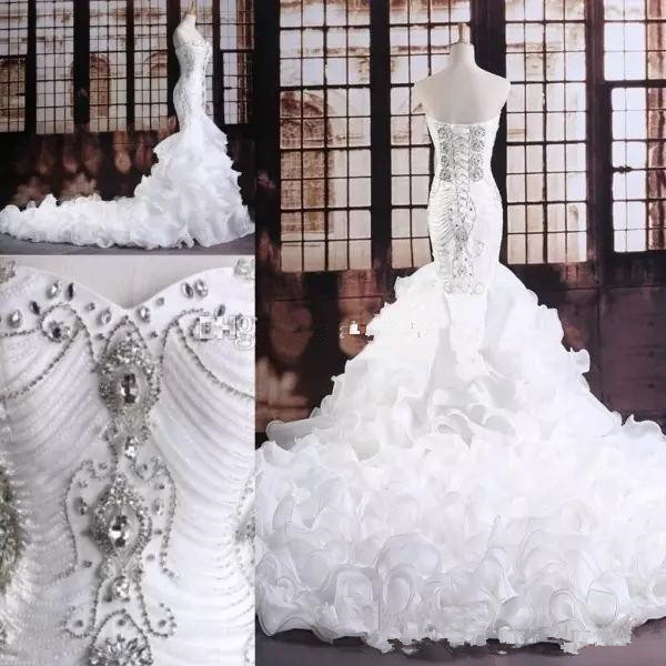 Crystal Beaded Mermaid Wedding Dresses 2019 Sweetheart Sparkly Lace-up Corset Ruffles Cathedral Train Trumpet Wedding Gown