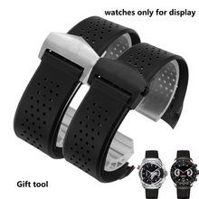 PEIYI watchband Black Silicone Rubber Strap 22mm 24mm Watch bands For men Bracelet watch accessories silver black fold buckle все цены
