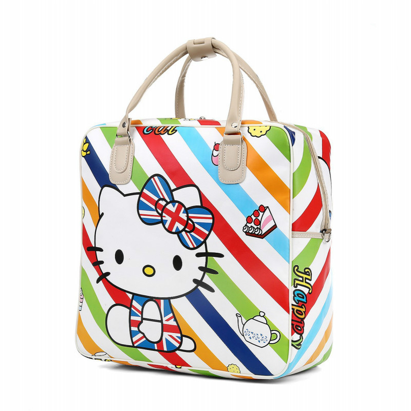 Women's Cute Hello Kitty Travel Bag Girls Lovely PU Leather Shoulder Duffel Bag Tote Large Capacity Luggage Bag LGX62