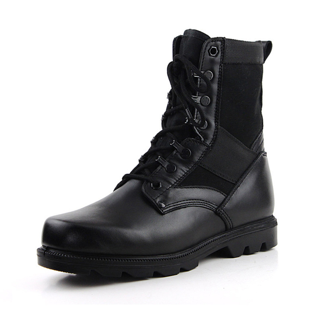 Women And Mens Combat Military Shoes Black Army Patrol Hiking Cadet Work  Genuine Leather Boot Lace Up Mid Calf Size 5-10.5 fa0c5f0fdb9