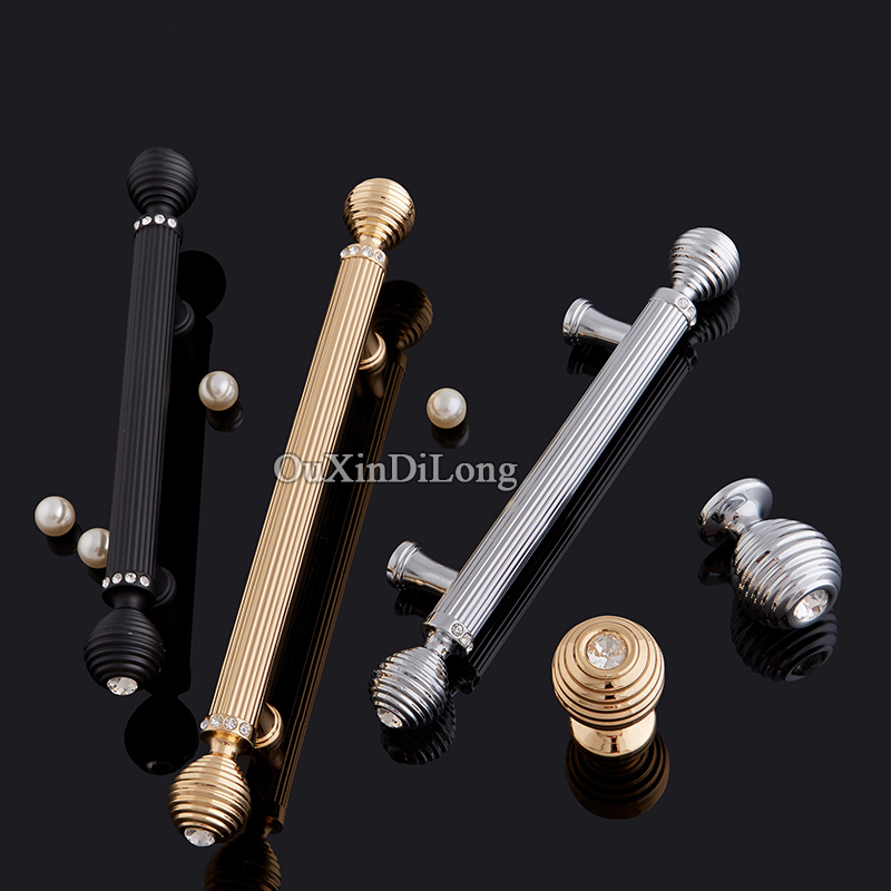 Luxury 10PCS European Inlaid Crystal Kitchen Door Handles Cupboard Wardrobe Drawer Wine Cabinet Pulls Furniture Handles & Knobs