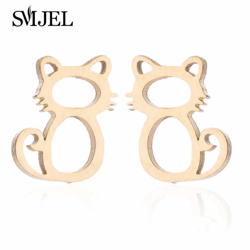 Smjel Cute Kalung untuk Wanita Fashion Hewan Kucing Stud Anting-Anting Emas Perhiasan Set Gadis Hadiah Bijoux