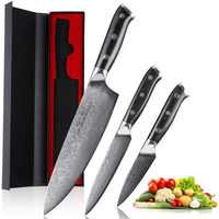 Mokithand 3pcs Japanese Kitchen Knife Set 67 Layer Damascus Steel Chef knives Sharp VG10 Home Knives Professional Cooking Knife