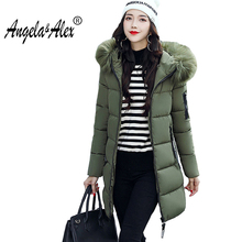 angela&alex winter jacket women long 2017 new fashion down cotton parka Hooded Thickening Super warm Long sleeve ladies coat