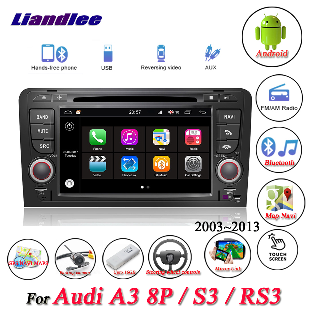 Liandlee For Audi A3 8P S3 RS3 Sportback Stereo Car Radio Video Camera Wifi BT DVD Player GPS Map Navi Navigation Android System