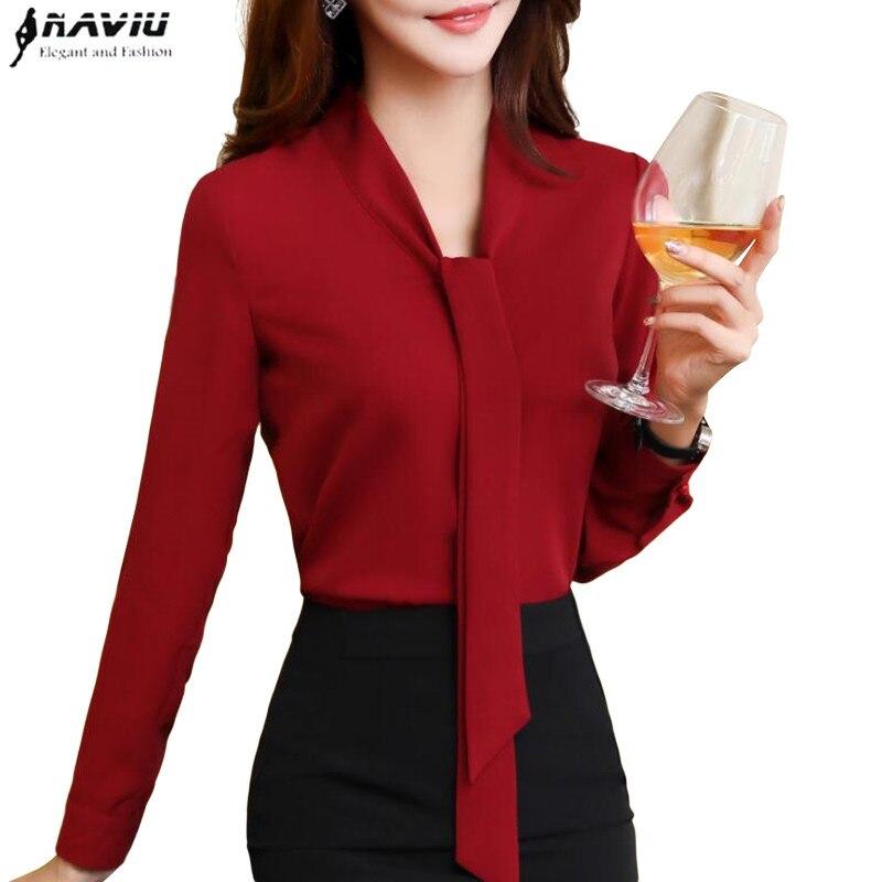 NAVIU 2017 New Fashion Elegant Women Chiffon Blouses Office Lady Long Sleeve Shirt Formal Blusas High Quality Plus Size Tops