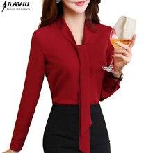 Naviu yeni moda kadın üstleri ve bluzlar ofis bayan uzun kollu gömlek resmi elbise yüksek kalite artı boyutu Blusas