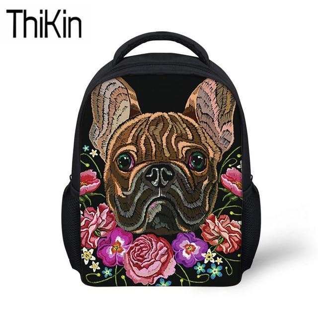 e6c34c418847 THIKIN Bulldog Printing School Bags for Girls Kindergarten Backpacks  Kids Baby Mini Schoolbag Backpack Children Shoulder Bags