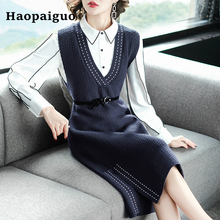 Plus Size 2 Piece Set Women Winter Blue White Shirt Blouse and Elegant Casual Wrap Bandage Office Dress Work Two