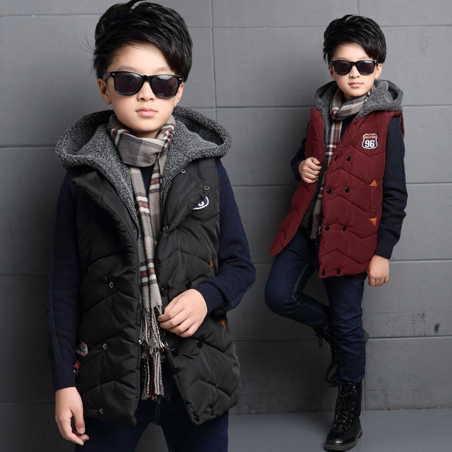 Kids Children Thickened Casual Vest Boys Winter Warm Cotton Double-breasted Vest Coat Boy Zipper Hooded Vest Children's Cothing
