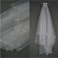 2017 Wedding Veils Wedding Bridal Veil 2 Layer Handmade Beaded Crescent Edge Bridal Accessories Veil White