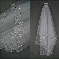 2017 Wedding Veils Wedding Bridal Veil 2 Layer Handmade Beaded Crescent Edge Bridal Accessories Veil White