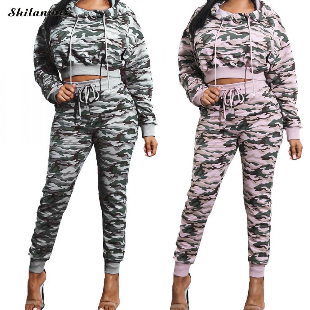 Women Sets 2017 Fashion Long Sleeve Bodycon Slim Camouflage Sweat Suits Hoodies Tracksuit Sweatshirt Crop Top 2 Piece Sets Women