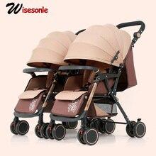 Wisesonle коляска детская для двоих каляски для детей коляска люлька для двойни коляска для погодок Россия