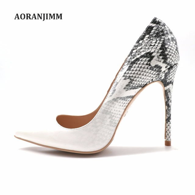 Free shipping real pic AORANJIMM hot sale grey python snake change to white  pointed toe women lady high heel shoes plus size e24d34b18288