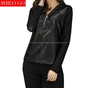 SHILO GO New Fashion Street Women's Sexy black zipper V-Neck long sleeve Sheepskin Genuine Leather Blouse Ladies Lace Blouse