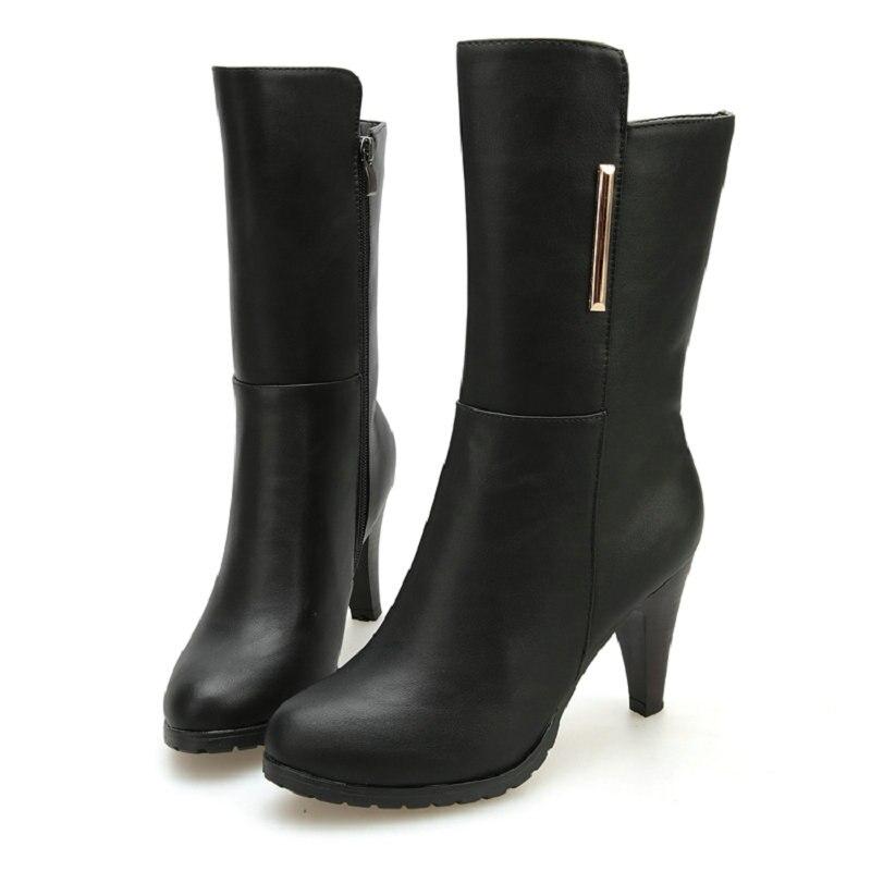 Tacones Vintage Mujeres Botas Otoño Negro Zapatos Formal Lluvia Niza Botas Occidental Vaqueros Moda Altos Nueva Mujer Becerro Señoras wIY7O