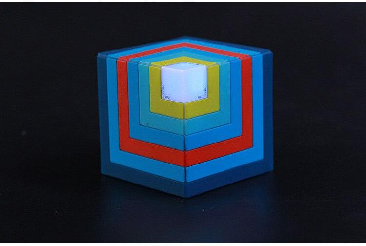 Funny Cubic Rainbow luminous <font><b>Bluetooth</b></font> <font><b>Speaker</b></font> Led flashing Light Stereo Wireless Subwoofer With Mic,TF card/Aux-in <font><b>Cube</b></font> <font><b>Speaker</b></font>