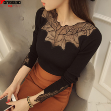 2016 New Winter Fashion Slim Woolen Pullover Sexy Net Yarn Lace Stitching Bottoming Shirt Solid Color Long-sleeved Sweater
