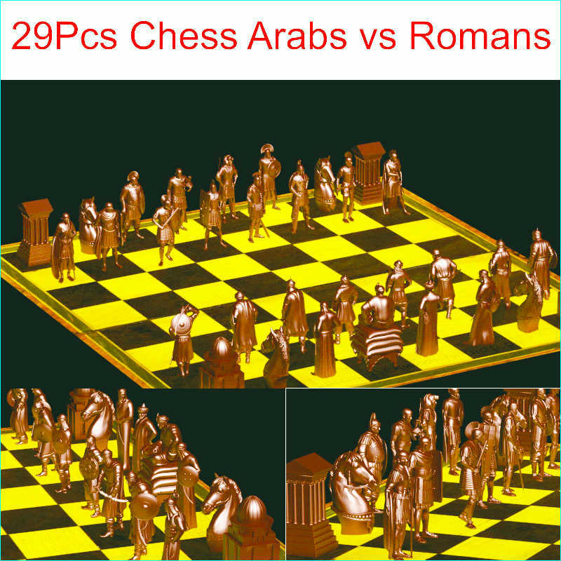 29Pcs Chess Arabs Vs Romans 3D Model For 4 Axis Circular Diagram 3D Carved Sculpture Cnc Machine In STL File