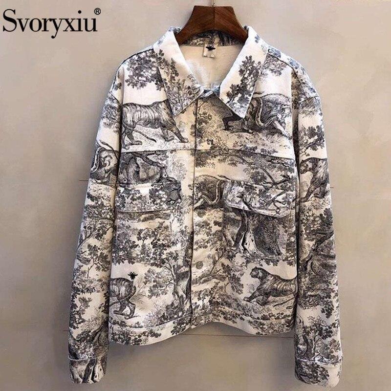 Svoryxiu Early Spring Designer Forest Animal Printing Denim Outwear Jackets Women s High End Custom Ladies